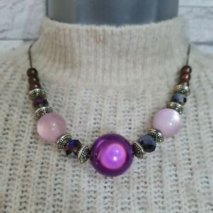 Chunky Beaded Choker Necklace Pink/Purple Beads Costume Jewellery Modernist