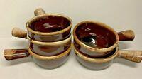 Set of 5 McCoy MCM Vintage Pottery Brown Drip Glaze Handled Soup Bowls 7050 EUC