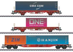 MÄRKLIN 47580 Container-Tragwagen-Set Lgs 580 der DB AG 3-teilig  #NEU in OVP#