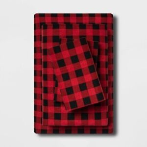 4pc WONDERSHOP Holiday Print Flannel Sheet Set | KING | Buffalo Check | 🆕