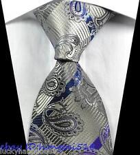New Paisleys Stripes Gray Blue Purple JACQUARD WOVEN 100% Silk Men's Tie Necktie