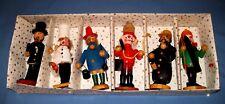 Vtg Lot 6 Wooden/Wood Figurines Skier/Baker/Fireman & More Christmas!