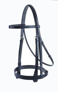 Black Cob Jeffries Falcon Plain Leather Cavasson Bridle WAS £124.29