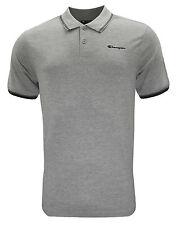 Adidas Para Hombre Camisa Polo Logotipo campeón, Parte superior Camiseta, - Gris-Pequeño