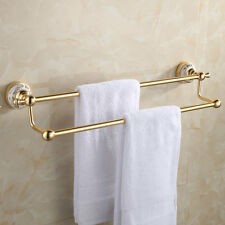 GOLD FINISH WHITE PORCELAIN BATHROOM DOUBLE TOWEL RAIL RACK BAR WALL MOUNTED 24""