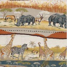 MAKOWER UK AFRICAN ANIMALS COTTON FABRIC BTY