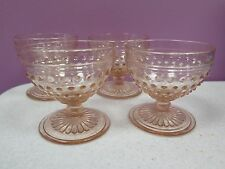 4 Anchor Hocking Glass HOBNAIL-Pink  Champagne / Tall Sherbet  DEPRESSION (Y201)