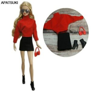 """Red Black Fashion Outfits For 11.5"""" Doll Clothes Set Glasses Bag Boots Toys 1/6"""