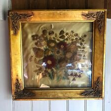 Antique Embroidery on Silk Floral Pattern Circa Mid 1800's Beautiful Frame