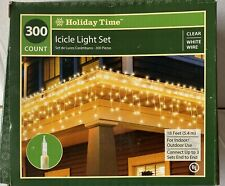 300 Count Christmas Icicle Light Set Clear White Wire Lights Holiday Time 18 ft