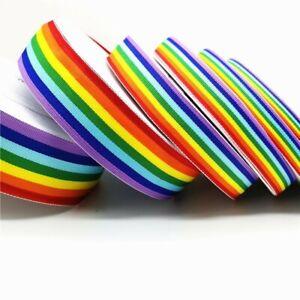5 Yard Rainbow Ribbon Gay Pride LGBT Multicolor Width Stripe 10mm 15mm 20mm 25mm