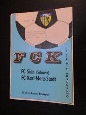 DDR Fußball Programm 05 FC Karl Marx Stadt - FC Sion 1989 EC Europacup