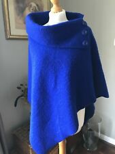 Ladies Vera Tucci Blue Boiled Wool One Size Poncho