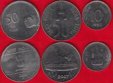 India set of 3 coins: 10 - 50 paise 1990-2008