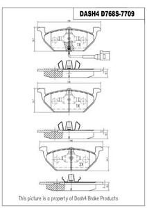 FITS VW Dash 4 Brake CD768S Ceramic Disc Brake Pad WITH SENSORS