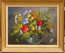 Tableau bouquet fleurs V. Rosa vers 1950