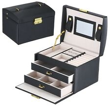Mens womens Black Leather Jewelry Box 6 Watch Storage Case Organizer Lock Mirror