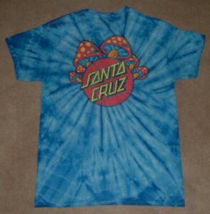 Vintage Santa Cruz Skateboards T Shirt Tie Dye Rare Mushroom Graphic Sz M