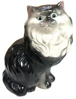 "Cat Kitten Decor HUGE Black White Ceramic Persian 14"" Animal Collectible"