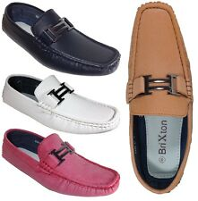 Men Brixton New Leather Driving Casual Shoes Moccasins Slip On Loafers KRK01