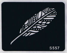 Tattoo decal stencil body jewllery self adhesive multiple motif feather S557