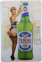 Drink Ice Cold Beer Bar Pub Man Cave Rustic Retro Tin Metal Sign 8 x 12