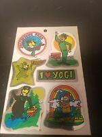 Vintage Hanna Barbera Yogi Bear Jellystone Park  Resort Foil Sticker Sheet 1984
