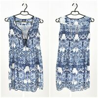 Womens Odd Molly M314 Tunic Dress Blue Cotton Summer Floral Size 1 / S / UK8