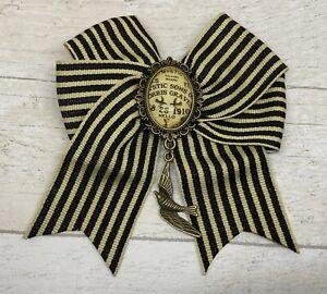 Black Ivory Stripe Hair Bow Slide Clip Goth Pagan Ouija Spirit Board Swallow