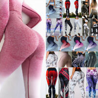 Womens High Waist Sports Pants Yoga Fitness Leggings Running Scrunch Trousers TS