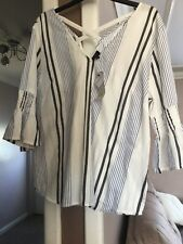 River Island Blouse Size 14 Petite BNWT  3/4 Sleeve Striped