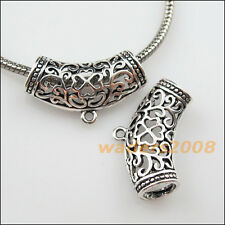 6 New Tibetan Silver Flower Charms European Bail Beads Fit Bracelet 18.5x31mm