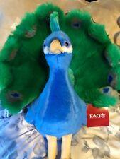 "FAO Schwarz Peacock Bird 14"" Plush Stuffed Animal Schwartz Blue Green"