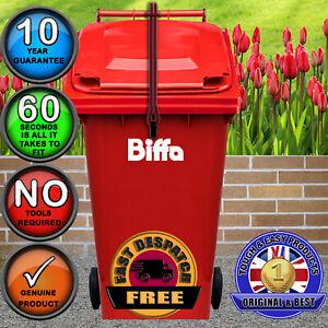 BIFFA Wheelie Bin Lid Lock Strap-NO DRILLING-Stop Wind Tipping Lid in RED )