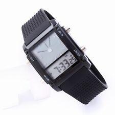 Men's Digital Analog LED Light Hands Rubber Alarm Casual Waterproof Wrist Watch