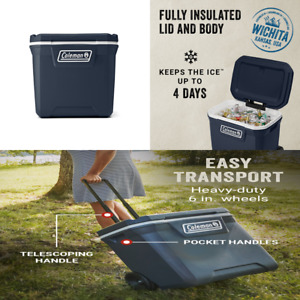Coleman Outdoor Camping Cooler Wheeled Ice Chest 50 Qt Picnic Food Drink Chiller