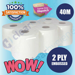 6 x  WHITE Centre feed Rolls 2ply Wiper Paper Towel Kitchen Roll✯