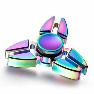 Ninja Rainbow Tri Star Fidget Spinner - Metal EDC Desk Anxiety Relief Hand Toy