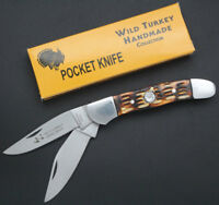 Wild Turkey Handmade Dual Blade Bone Handle Folding Pocket Knife