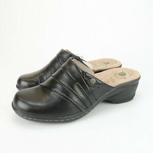 Earth Origins Ginger Black Soft Burnished Calf Leather Mules Shoes Size 6 M
