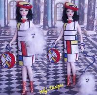 HANDMADE Clothes Dress Mondrian Set FOR Barbie Vintage,Silkstone & Repro Doll