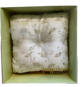 PROMISES His & Hers Ring Bearer Pillow IVORY GOLDEN EMBROIDERY Rhinestones