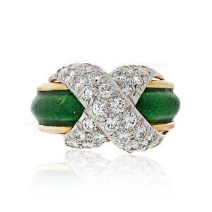Tiffany & Co. Green Enamel Schlumberger Pave X Diamond Ring Size 5
