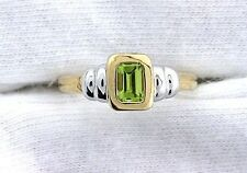 10Kt REAL Yellow Gold 5x3 Emerald Peridot Ladies Gemstone Gem Ring EBS99R50