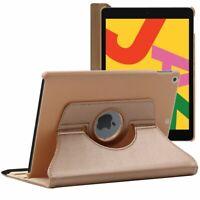 Coque Apple iPad 10.2 (2019) Housse Etui Rotatif 360 PU Cuir, Or / Doré