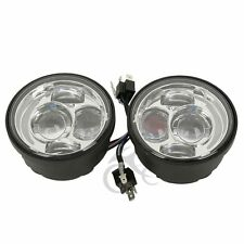 """Chrome 4.65"""" Round LED Daymaker Headlight For Harley Dyna Fat Bob 2008-16 FXDF"""