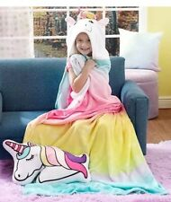 Unicorn Hooded Throw Blanket 1-Pc + Justice Stickers Rainbow Super Soft Costume