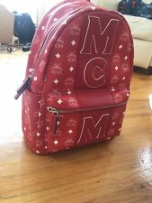 Mcm Stripe Backpack Red and White