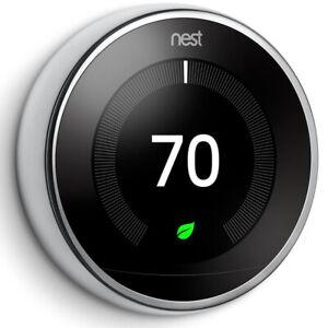 Google Nest Learning Thermostat 3rd Gen Smart Thermostat (Polished Steel) T3019U