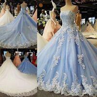 Plus Blue White Wedding Dress Bridal Gown Strapless Long Train Lace Custom Size